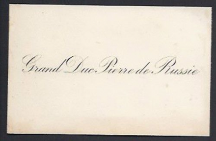Grand Duke Paul Alexandrovich Romanov of Imperial Russia Calling Card
